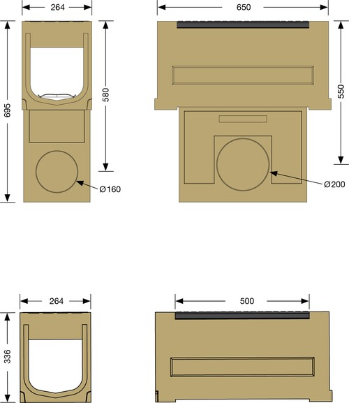 Image Accessories dimensions for SOLID BLOCK 200 sump unit